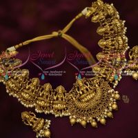 Laxmi God Temple Jewellery Broad Gold Finish Antique Finish Collections