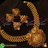 Handmade Beads Design Temple Jewellery Set Matte Reddish Collections Online