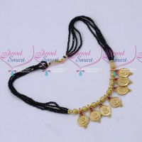 Black Crystal Beaded Temple Coin Short Necklace Traditional Design Mala