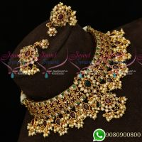 Grand Bridal Jewellery Semi Precious High Quality AD Kemp Matte Look Choker Necklace