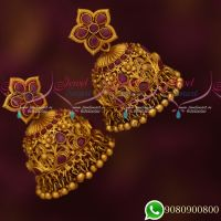 Stylish Intricately Designed Ruby Peacock Floral Broad Big Jhumka Earrings Grand Jewellery