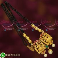 Black Crystal Mala 2 Line Temple Mangalsutra Gold Plated Traditional Jewellery