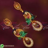 Enamel Meenakari Long Size Jhumka Peacock Design Jewellery Antique Matte