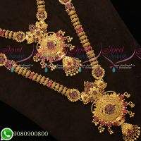 South Indian Handmade Mini Bridal Set Micron Gold Plated AD Stones Collections