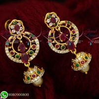Gold Plated AD Stones Jewellery Chandbali Screwback Earrings Designs