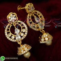 Gold Plated White AD Stones Jewellery Chandbali Screwback Earrings Designs