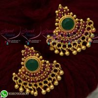 Ruby Emerald Stones Gold Covering Daily Wear Ear Studs Imitation Jewellery Designs