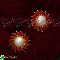 Coral Pearls Traditional Design Round Ear Studs Gold Plated Screwbaack Earrings