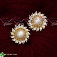 White AD Pearls Traditional Design Round Ear Studs Gold Plated Screwbaack Earrings
