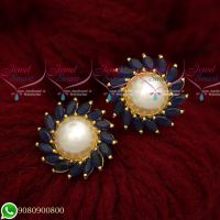 Sapphire Blue Pearls Traditional Design Round Ear Studs Gold Plated Screwbaack Earrings