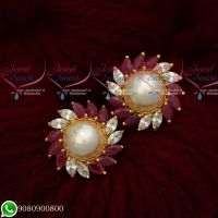 Ruby WhiteTraditional Design Round Ear Studs Gold Plated Screwbaack Earrings