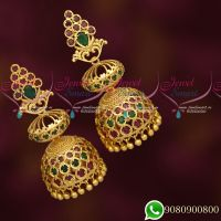 American Diamond Long Size Layer Jhumka Earrings Ruby Emerald Stones