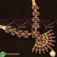 South Indian Ruby Stones Daily Wear Trendy Necklace Gold Plated Imitation Jewellery