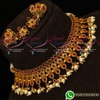Latest Fashion Jewellery Kemp Matte Reddish Choker Necklace Pearl Drops