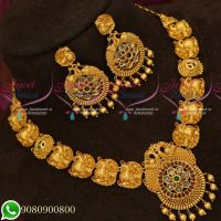 Peacock Design Kemp Jewellery Matte Look Nakshi Work Necklace Set