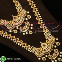 Premium Finish Bridal Jewellery Short Long Matching Peacock Design Exclusive Imitation