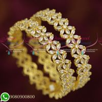 Broad Dazzling White Stones Star Design Party Wear Grand Gold Finish Bangles Online