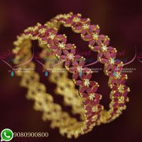 Broad Ruby Stones Star Design Party Wear Grand Gold Finish Bangles Online