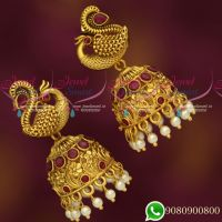 Stylish Peacock Jhumka Red Green Stones Matte Dull Gold Look Jewellery