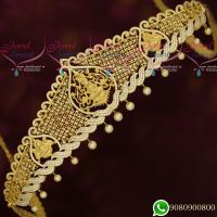 Temple Jewellery Gold Plated AD Stones Dazzling Vaddanam Bridal Collections Latest