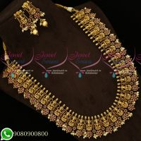 Antique Medium Haram Gold Plated Temple Jewellery Nagas Traditional Look Imitation Online