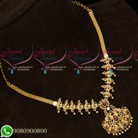 AD Stones Ruby White Gold Plated Necklace Set Wholesale Price Jewellery