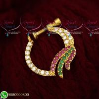 Fancy AD Stones Jewellery Nath Nose Pin Mookuthi Screw Lock Jewelry Online