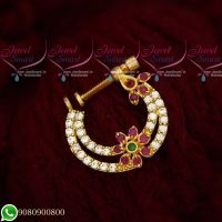 Non Pierced Nose Ring Nath Designs AD Ruby White Stones Online