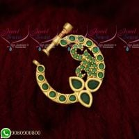 Nose Ring Designs Online Screw Lock Non Pierced AD Emerald Green Stones