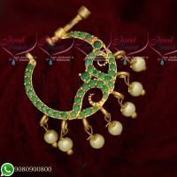 Gold Plated AD Emerald Stones Screw Open Nose Pins Latest Designs