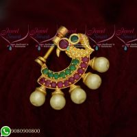 Nose Ring Designs Small Size Ruby Emerald Stones Online Screw Lock Non Pierced