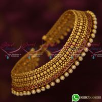 Antique Jewellery Gold Plated Matte Look Payal Anklets Broad Grand Designs Online