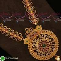 Antique Gold Plated Double Design Haram Red Green Stones Matte Reddish Colour