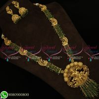 Antique Gold Plated Temple Long Necklace Haram Green Crystals Online