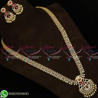Long Necklace American Diamond Jewellery Gold Plated Designs Latest Imitation