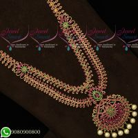 Bridal Jewellery Ruby Long Necklace Gold Plated Haram Double Layer Designs Latest Imitation Collections Online