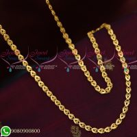 Gold Plated Chains Fancy Cutting Design Copper Metal 24 Inches Daily Wear Imitation