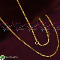 Gold Plated Simple Design Link Chain Copper Metal 24 Inches Daily Wear Imitation