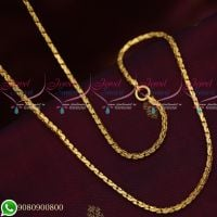 Gold Plated Square Fancy Cutting Chain Copper Metal 24 Inches Daily Wear Imitation