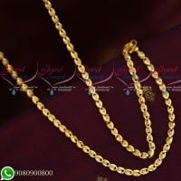 Gold Plated Oval Fancy Cutting Chain Copper Metal 24 Inches Daily Wear Imitation