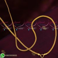Gold Plated Chain Flat 3 MM Design Copper Metal 24 Inches Daily Wear Imitation