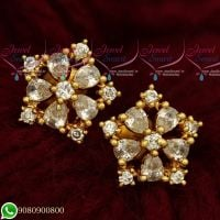 Gold Plated Ear Studs South Screw American Diamond Jewellery Designs