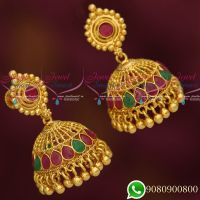 Jhumka Designs Gold Look Jewellery South Screw Lock Imitation Collections