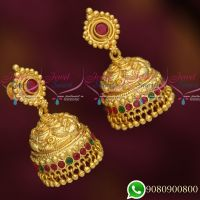 Jhumka Designs Gold Look Jewellery Nagas Work South Screw Lock Imitation Collections