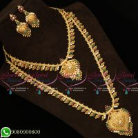 Gold Plated South Indian Jewellery Multi Colour AD Stones Long Short Combo Necklace.