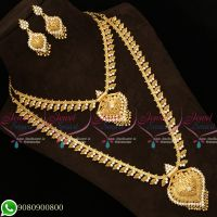 Gold Plated South Indian Jewellery White AD Stones Long Short Combo Necklace.