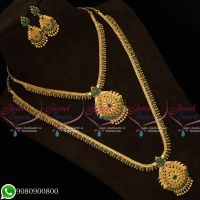 South Indian Gold Covering Jewellery Beads Design Green Stones Long Short Combo Mini Bridal Set