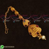 Temple Jewellery Maang Tikka Gold Plated Traditional Design Matte Finish Low Price Collections Online