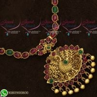 Gold Plated Antique Jewellery Designs Kemp Stones Peacock Red Green Stones