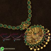 Gold Plated Antique Jewellery Designs Kemp Stones Peacock Green Stones